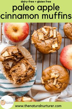 The apple cinnamon paleo muffins are not only delicious, but easy to make! The perfect healthy muffin, these are naturally sweetened, gluten free and dairy-free! Blueberry Zucchini Muffins, Healthy Muffins, Healthy Snacks, Healthy Eating, Apple Cinnamon Muffins, Apple Cider Donuts, Dairy Free Muffins, Cinnamon Almonds, Gluten Free Snacks