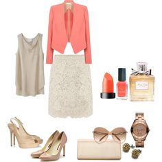 Business chic, coral, nude, and lace outfit! Created by cnsss on Polyvore
