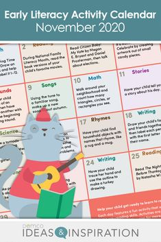#EarlyLiteracy Calendar Activities, Free Activities, Literacy Activities, National Months, Before Kindergarten, Early Literacy, Songs To Sing, Author, Learning