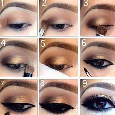 Pretty and simple gold smokey eye makeup for brown eyes :)