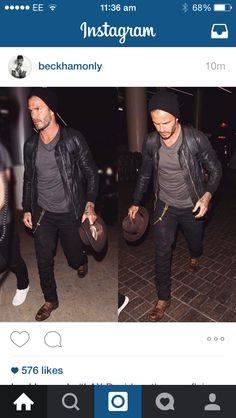 The way to wear a leather jacket, as worn by David Beckham at LAX Airport.
