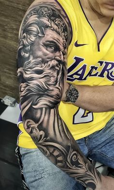 Zeus Tattoo, Poseidon Tattoo, Statue Tattoo, Forearm Sleeve Tattoos, Full Sleeve Tattoos, Tattoo Sleeve Designs, Full Hand Tattoo, Hand Tattoos For Guys, God Tattoos