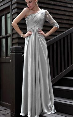 A-Line Magnificent Beaded One Sleeve Long Prom Dress With Ruched Bodice