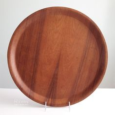 Vintage Backman Finland Large Round Teak Serving Tray Platter