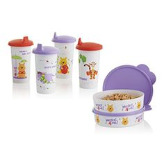 On Sale! Winnie the Pooh Lunch Set $25.00  Even the littlest members of your family can go green with this adorable set. Pooh and friends are back for a limited time to add some fun to your kitchen table! •Includes four 10½-oz./310 mL Large Bell Tumblers and two 2-cup/500 mL Big Wonders® Bowls •In Persimmon/Sorbet/Snow White •Limited Lifetime Warranty •Artwork not covered by Limited Lifetime Warranty www.my.tupperware.com/elizabethbenton