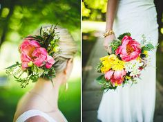 "pink peony, organic ""wildflower"" hairpiece and bouquet 