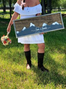 Excited to share this item from my #etsy shop: Mountain Wedding Guest Book Alternative-  Mountain Wall Art - Wedding Guestbook - Rustic Wood Wedding Sign #weddings #wedding #rustic #personalizedwedding #woodguestbook #alternative