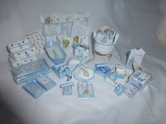DOLLS HOUSE MINIATURE OOaK 1/12 Baby & His Peter Rabbit Essential Nursery Set