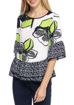 Kaari Blue  Lime Floral Ruffle Sleeve Tiered Top