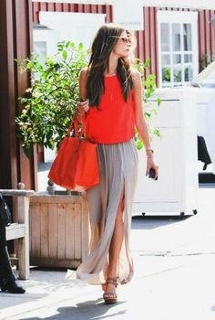 Women's Red Silk Sleeveless Top, Grey Chiffon Maxi Skirt, Brown Leather Wedge Sandals, Red Leather Tote Bag