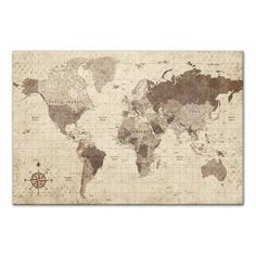 Designs Direct - Distressed World Map Canvas Wall Art, - Prints and Posters Canvas Frame, Canvas Fabric, Canvas Wall Art, Canvas Prints, Art Prints, Wall Collage, Canvas Size, Old World Maps, Vintage World Maps