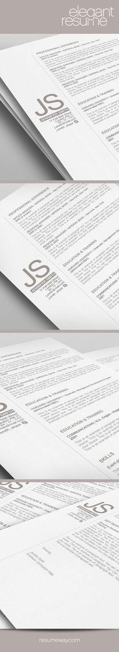Elegant Resume Template - 110530 - Premium line of Resume & Cover Letter Templates. Easy edit with MS Word, Apple Pages - Resume, Resumes - ResumeWay