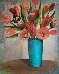 The Turquoise Vase - Mixed Media - 24 x 30 Mixed Media, Vase, Turquoise, Graphic Design, Creative, Artist, Inspiration, Painting, Ideas