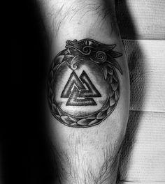 Dragon Eating Tail Mens Valknut Leg Calf Tattoos