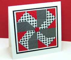handcrafted quilt card from Curt's World ... square format ... pieced i black, white and red ... fun look!