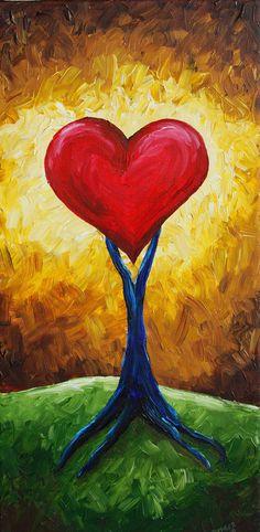 RMB ABSTRACT Love Grows Heart Tree Painting ART by RMBArtStudio, $295.00
