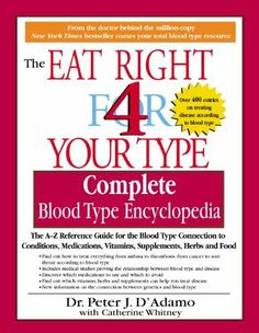 The Complete Blood Type Encyclopedia Eat Right 4 Your Type by Dr. Peter J. D'Adamo, http://www.amazon.com/gp/product/B001RTC0UQ/ref=cm_sw_r_pi_alp_jiBirb1K8ZYZA