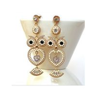 Vintage Owl Earrings White