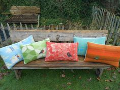 Pillows, felted birds on vintage blankets, Eexterhout