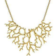 KJL by KENNETH JAY LANE 20K Gold-Plated Branch Bib Necklace ($175) found on Polyvore