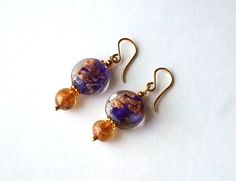 Copper+Foil+Royal+Cobalt+Blue+Glass+Earrings+by+westlakebeads,+$26.00