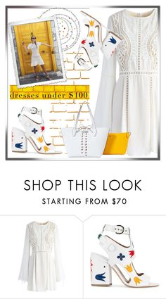 """""""A Touch of Gold"""" by savenna-zlatchkine ❤ liked on Polyvore featuring Chicwish, Laurence Dacade, GUESS, dress, crochet and under100"""