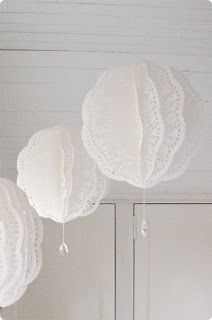@ Dress Factory: Paper doily balls with crystal drops- could use paper doilies for this! Paper Doily Crafts, Doilies Crafts, Paper Doilies, Diy Paper, Paper Lace, Paper Lanterns, Paper Lantern Chandelier, White Lanterns, Paper Flowers