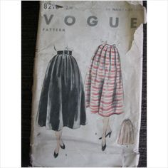 """Vintage 1950's Vogue pattern 8210 ladies skirt waist 26"""""""" used - ebid"""