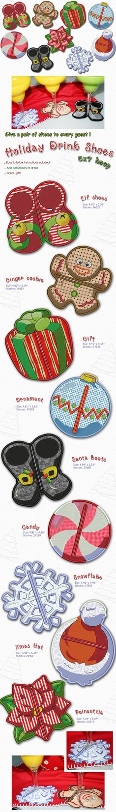 Personalize your Holiday party drinks with these wonderful designs to fit your wine cups, margarita cups and much more. Unique and colorful that will make your guest to talk about. Applique instructions included. Christmas Fabric and Thread Available here! Embroidery Designs, Embroidery Patterns Free, Embroidery Applique, Machine Embroidery, Christmas Fabric, Christmas Crafts, Party Drinks, Holiday Parties, Quilts
