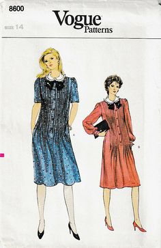 Vogue 8600 ©1983 Misses' Dress, Featuring Front Tucks, Size 14, FF #McCallPatternCompany Vogue Sewing Patterns, Mccalls Patterns, Contrast Collar, Shoulder Pads, Size 14, Short Sleeves, Ebay, Dresses, Fashion