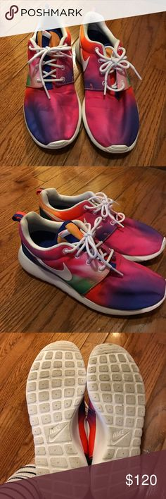 Tie dye rainbow roshe Only worn twice just to the gym, basically new condition! Nike Shoes Athletic Shoes