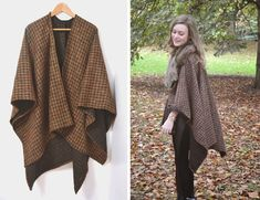 Wool Coat Blanket Pattern Easy Video Instructions When you are Vintage Dress Patterns, Coat Patterns, Sewing Patterns, Blouse Patterns, Vintage Sewing, Blanket Poncho, Knitted Poncho, Knitted Shawls, Capes