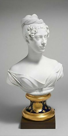 Culture: French(Paris), Appears to be most ambitious piece of porcelain produced by Paris factory of Auguste Dominique Denuelle. Based on marble bust by Henri Joseph Ruxtheil (1755-1837), Marie-Caroline, duchess of Berry.