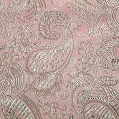 Let's Pretend TM Special Occasion Fabric- Paisley Brocade Silver Lt Pink