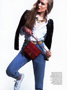 Gioia magazine featured the #AmericanApparel Dark Wash Indigo High-Waist Jean, Italy, June 2013. #Gioia #magazine #denim