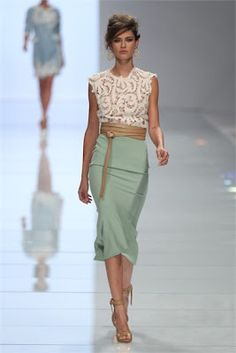 Sage Pencil skirt, lace top, and beige wrap belt