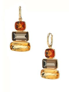 Allia Ice Cube Madeira Citrine & Smoky Quartz Triple Drop Earrings