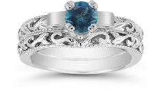 applesofgold.com - Blue Diamond Art Deco Bridal Set. A fashionable, white diamond alternative - and less expensive too!