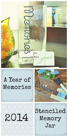 """This DIY MEMORY JAR craft is the perfect way to remember all the special things that happen to your family throughout the year. Start 2014 by writing down moments of gratitude, """"firsts"""", sweet things your kids said, any moments that you want to read about and remember at the end of 2014. CLICK HERE to get the step by step instructions for this DIY project from Kristen Holm of www.BigBoxDetox.com. This Stenciled Memory Jar will replace journaling for 2014."""