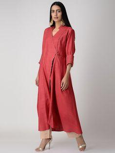 Red Pleated Matka Silk Kurta with Top Stitch Designer Wear, Designer Dresses, Silk Pajamas, Cotton Tunics, Kurta Designs, Indian Wear, Casual Wear, Fashion Dresses, Women's Fashion