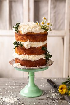 "Lemon Coconut Naked Cake with Whipped Vanilla Buttercream. - Lemon Coconut Naked Cake with Whipped Vanilla Buttercream. The pretty ""garden"" cake that tastes - Food Cakes, Cupcake Cakes, Nake Cake, Lemon Coconut, Honey Lemon, Coconut Cakes, Lemon Cakes, Cake Recipes, Dessert Recipes"