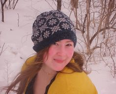…a slouchy hat covered in snowflakes perfect for a blustery winter day…