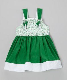Loving this Petite & Posh Green Shamrock Swirl Tie Dress - Toddler & Girls on #zulily! #zulilyfinds
