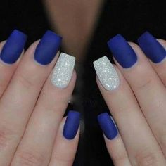 Stunning Cobalt Blue Nails For Elegant Ladies Royal Blue Nails With Silver Accents;blue manicure;blue nail designs;Blue Gel;Nail Polish;blue nail art;rhinestone nails; - Nail Designs Cobalt Blue Nails, Blue And Silver Nails, Blue Gel Nails, Navy Nails, Blue Acrylic Nails, Acrylic Nail Designs, Nail Art Blue, Silver Glitter, Blue Glitter Nails