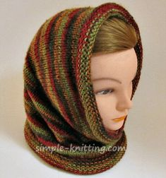 This cozy hooded cowl scarf pattern is an easy quick knitting in the round  project and 57ebdb6d8cd