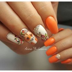 Beautiful bright nails, Beautiful nails 2017, Nails with animals, Nails with artistic painting, Nails with liquid stones, Orange and white nails, Painted nail designs, Spring nails 2017 #SpringNails