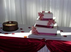 Offset Tiers With Ribbon And Airbrushed Autumn Leaves Wedding Cake By Pm Frosted Www Toledo Ohioautumn
