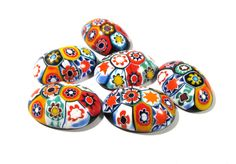 Murano Millefiori Cabochons 18mm x 25mm VINTAGE Cabochons Six (6) Oval Mosaic Cabochons Venetian Glass Jewelry Mosaic Supplies (N33) by punksrus on Etsy