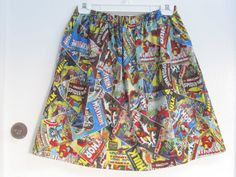 Marvel Comic Print Skirt by AquamarCouture on Etsy
