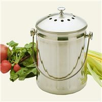 Stainless Steel Compost Pail with 2 Charcoal Filters, 1 Gallon